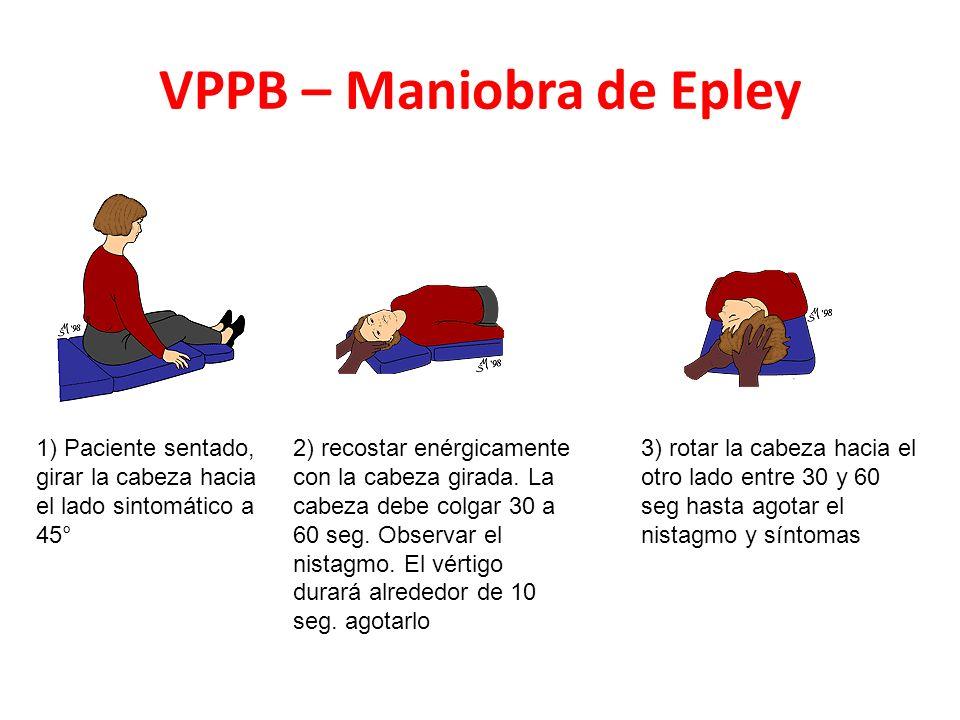 VPPB – Maniobra de Epley 1) Paciente sentado, girar la cabeza hacia el lado sintomático a 45° 2) recostar enérgicamente con la cabeza girada.