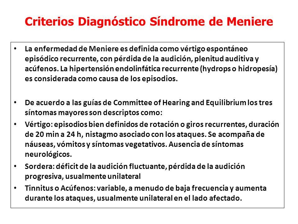 Criterios Diagnóstico Síndrome de Meniere La enfermedad de Meniere es definida como vértigo espontáneo episódico recurrente, con pérdida de la audición, plenitud auditiva y acúfenos.