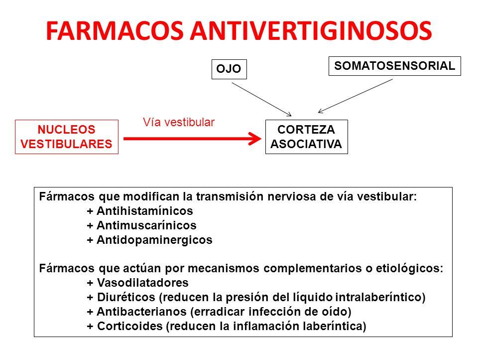 FARMACOS ANTIVERTIGINOSOS NUCLEOS VESTIBULARES CORTEZA ASOCIATIVA OJO SOMATOSENSORIAL Vía vestibular Fármacos que modifican la transmisión nerviosa de vía vestibular: + Antihistamínicos + Antimuscarínicos + Antidopaminergicos Fármacos que actúan por mecanismos complementarios o etiológicos: + Vasodilatadores + Diuréticos (reducen la presión del líquido intralaberíntico) + Antibacterianos (erradicar infección de oído) + Corticoides (reducen la inflamación laberíntica)