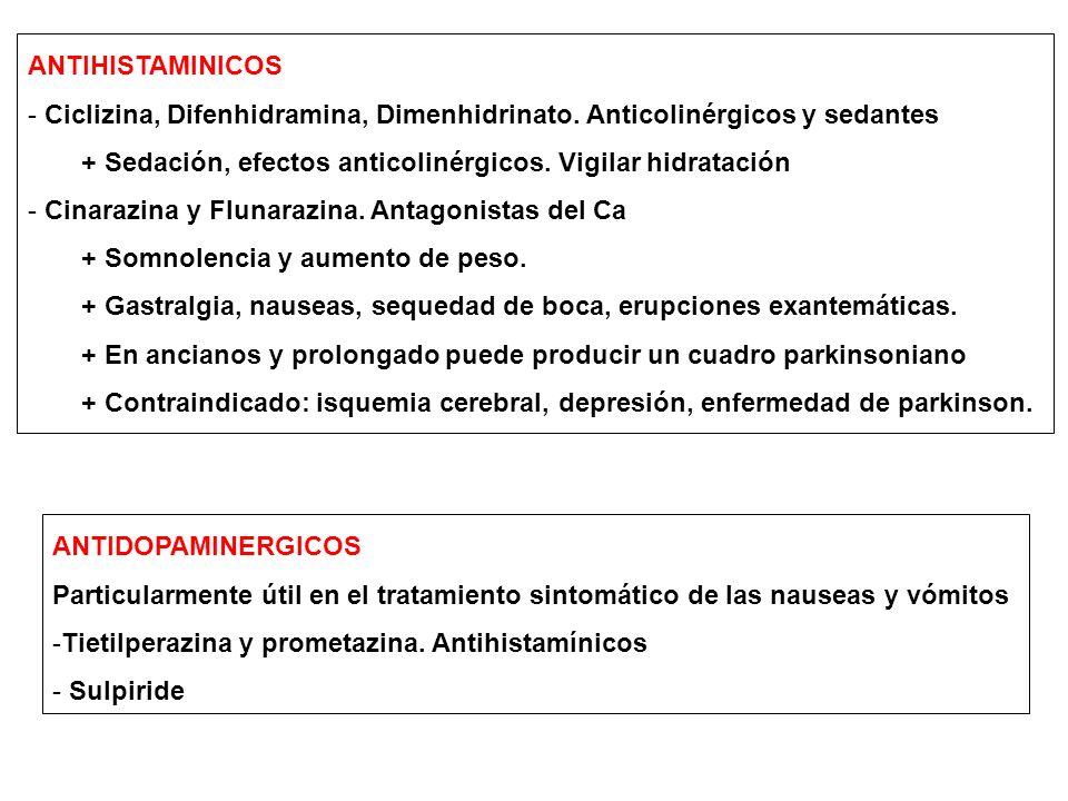 ANTIHISTAMINICOS - Ciclizina, Difenhidramina, Dimenhidrinato. Anticolinérgicos y sedantes + Sedación, efectos anticolinérgicos. Vigilar hidratación -
