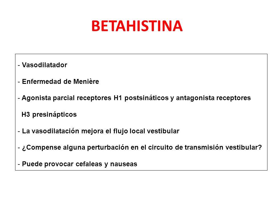 BETAHISTINA - Vasodilatador - Enfermedad de Menière - Agonista parcial receptores H1 postsináticos y antagonista receptores H3 presinápticos - La vasodilatación mejora el flujo local vestibular - ¿Compense alguna perturbación en el circuito de transmisión vestibular.