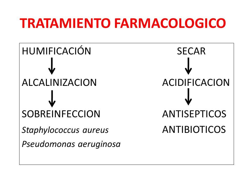 TRATAMIENTO FARMACOLOGICO HUMIFICACIÓN SECAR ALCALINIZACION ACIDIFICACION SOBREINFECCION ANTISEPTICOS Staphylococcus aureus ANTIBIOTICOS Pseudomonas aeruginosa
