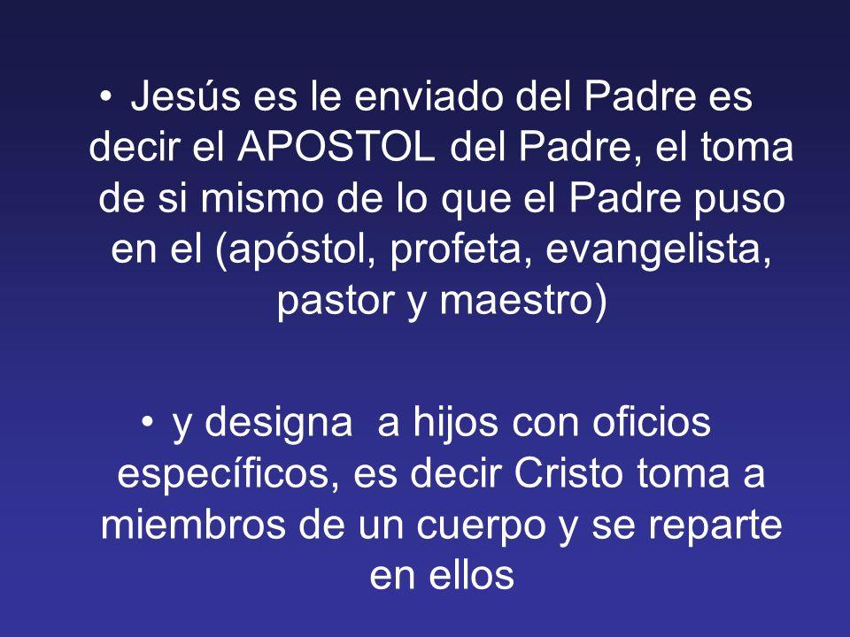 Jesús es le enviado del Padre es decir el APOSTOL del Padre, el toma de si mismo de lo que el Padre puso en el (apóstol, profeta, evangelista, pastor