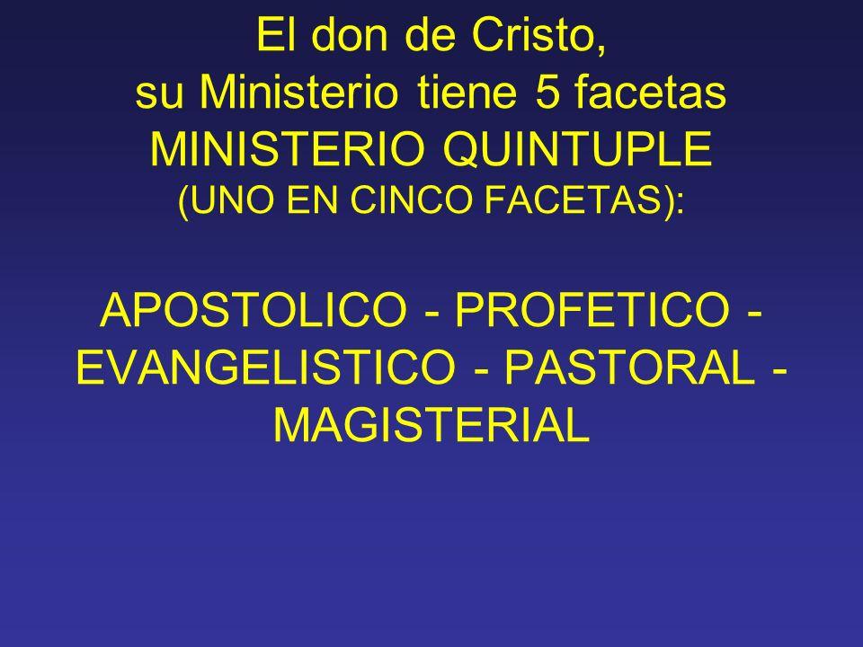 El don de Cristo, su Ministerio tiene 5 facetas MINISTERIO QUINTUPLE (UNO EN CINCO FACETAS): APOSTOLICO - PROFETICO - EVANGELISTICO - PASTORAL - MAGISTERIAL
