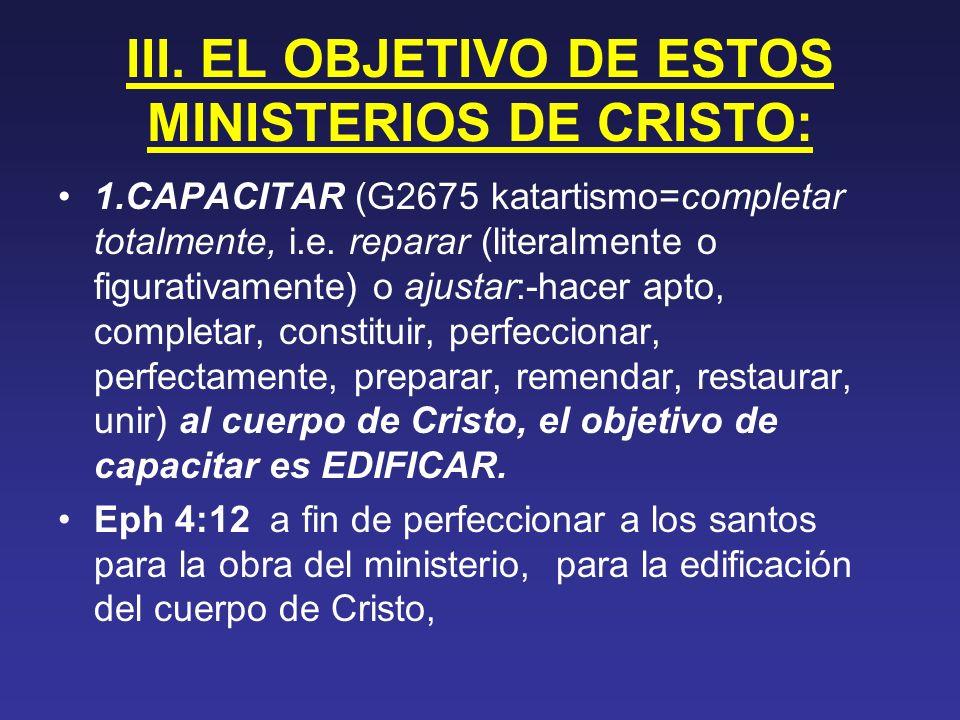 III. EL OBJETIVO DE ESTOS MINISTERIOS DE CRISTO: 1.CAPACITAR (G2675 katartismo=completar totalmente, i.e. reparar (literalmente o figurativamente) o a
