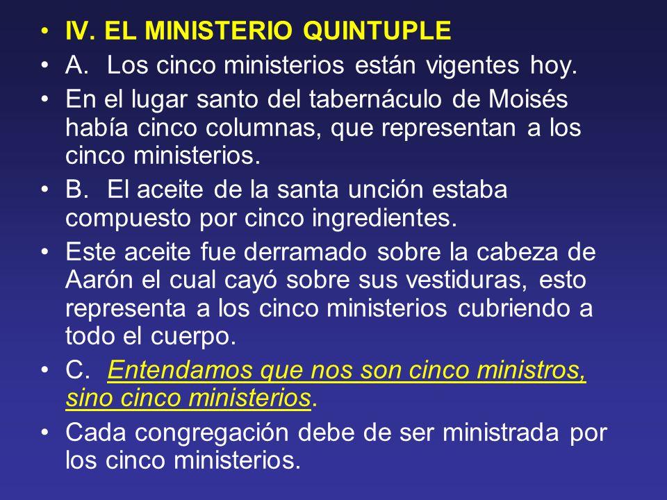 IV. EL MINISTERIO QUINTUPLE A. Los cinco ministerios están vigentes hoy. En el lugar santo del tabernáculo de Moisés había cinco columnas, que represe