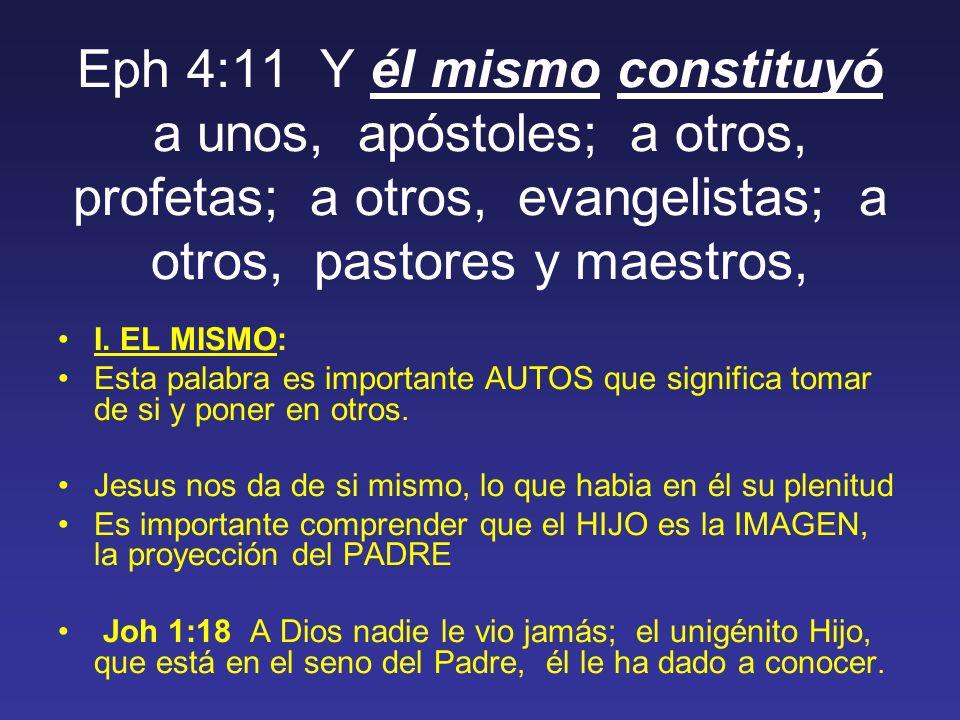 Eph 4:11 Y él mismo constituyó a unos, apóstoles; a otros, profetas; a otros, evangelistas; a otros, pastores y maestros, I.