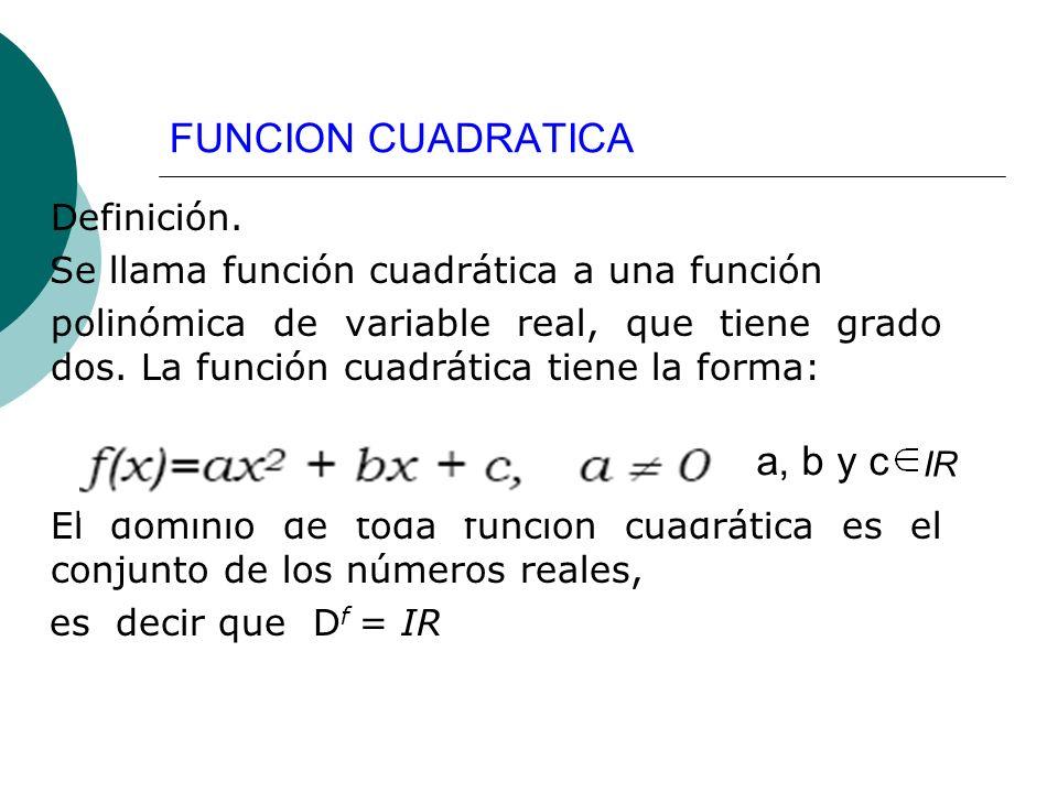 FUNCION CUADRATICA Definición. Se llama función cuadrática a una función polinómica de variable real, que tiene grado dos. La función cuadrática tiene