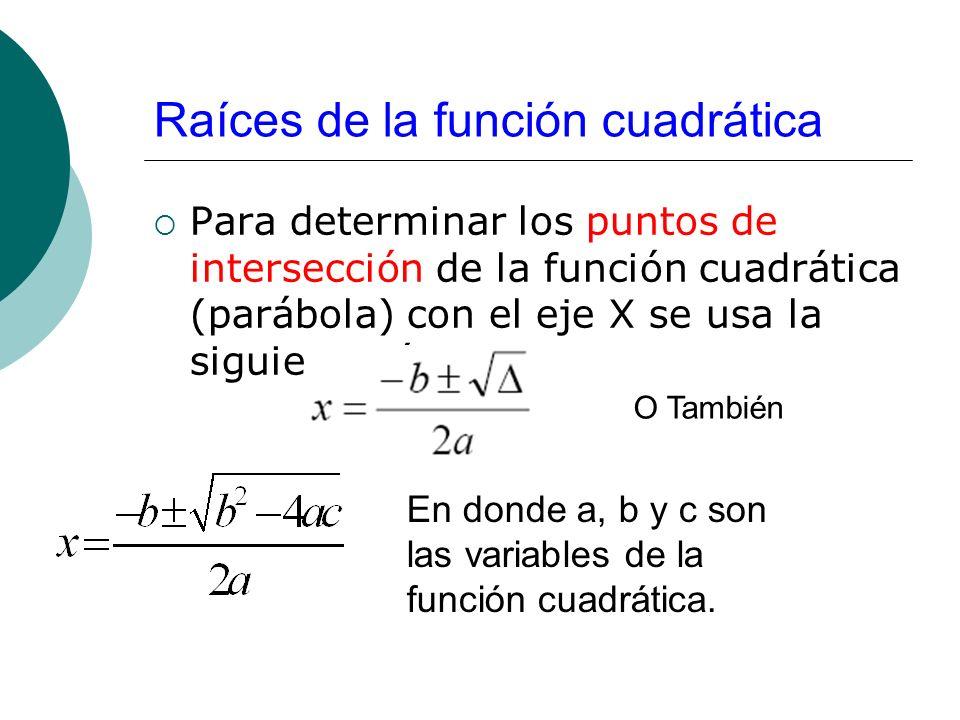 Raíces de la función cuadrática Para determinar los puntos de intersección de la función cuadrática (parábola) con el eje X se usa la siguiente fórmul