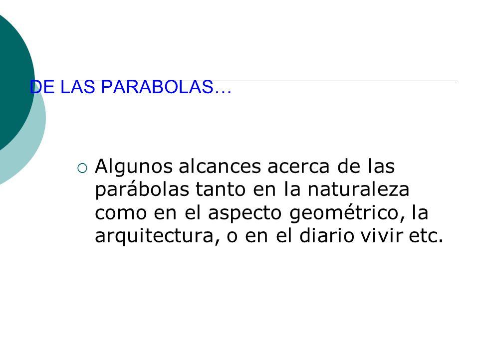DE LAS PARABOLAS… Algunos alcances acerca de las parábolas tanto en la naturaleza como en el aspecto geométrico, la arquitectura, o en el diario vivir