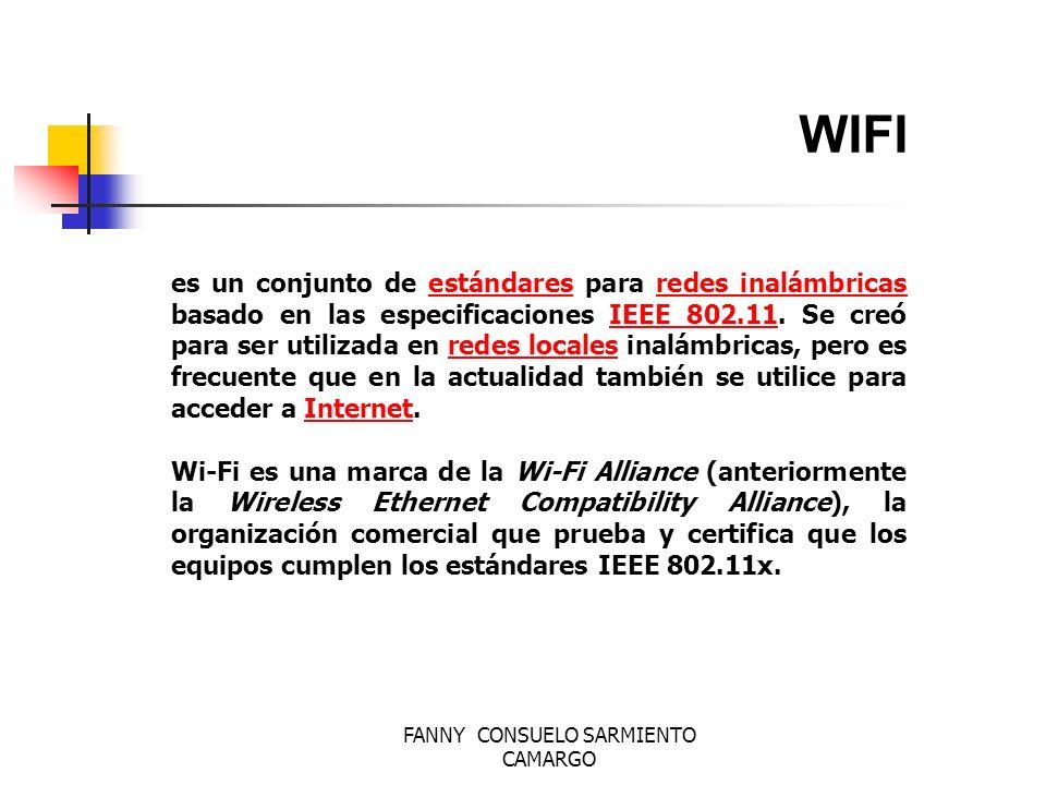 FANNY CONSUELO SARMIENTO CAMARGO WIFI los líderes de la industria inalámbrica (3Com, Aironet, Lucent, Nokia, etc.) crean la WECA (Wireless Ethernet Compatibility Alliance), una alianza para la Compatibilidad Ethernet Inalámbrica, cuya misión es la de certificar la interfuncionalidad y compatibilidad de los productos de redes inalámbricas 802.11b y promover este estándar para la empresa y el hogar.
