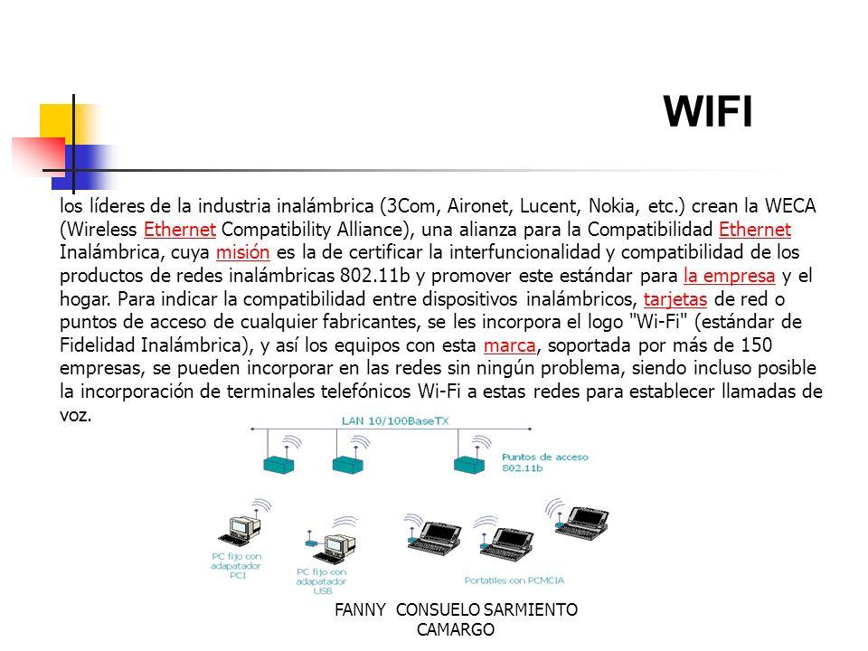 FANNY CONSUELO SARMIENTO CAMARGO WIFI Se espera que el crecimiento venga impulsado por la tecnología Wi- Fi, así como por la mayor presencia de las tarjetas multiprotocolo, capaces de operar en estándares diversos como el 802.11b a, b y g.