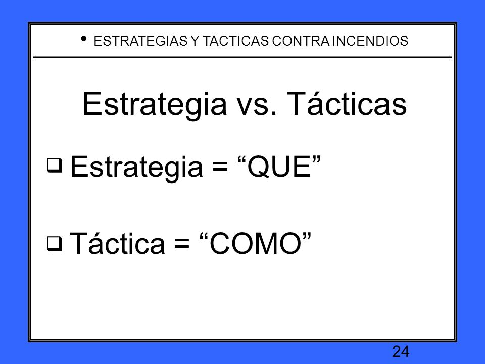 ESTRATEGIAS Y TACTICAS CONTRA INCENDIOS 23 Incident Organization Consider critical tasks in determining organization Branches Divisions Staging areas