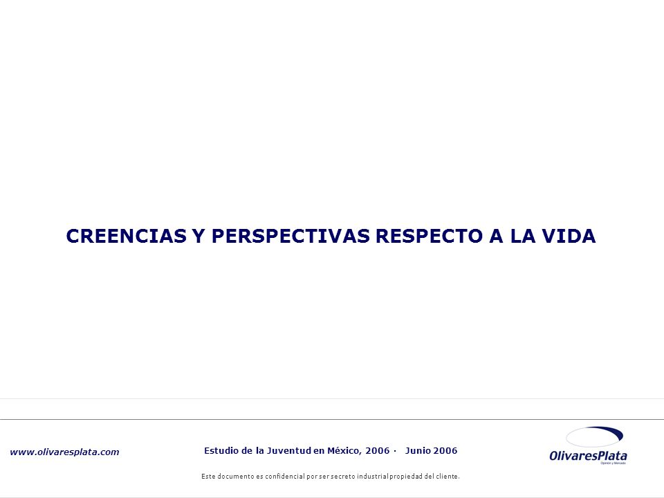 www.olivaresplata.com Estudio de la Juventud en México, 2006 · Junio 2006 Este documento es confidencial por ser secreto industrial propiedad del cliente.