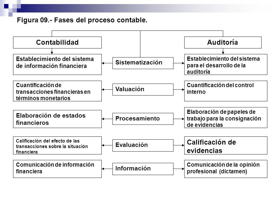 Figura 09.- Fases del proceso contable. ContabilidadAuditoría Establecimiento del sistema de información financiera Cuantificación de transacciones fi