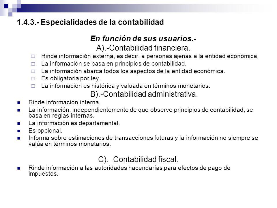1.4.3.- Especialidades de la contabilidad En función de sus usuarios.- A).-Contabilidad financiera. Rinde información externa, es decir, a personas aj