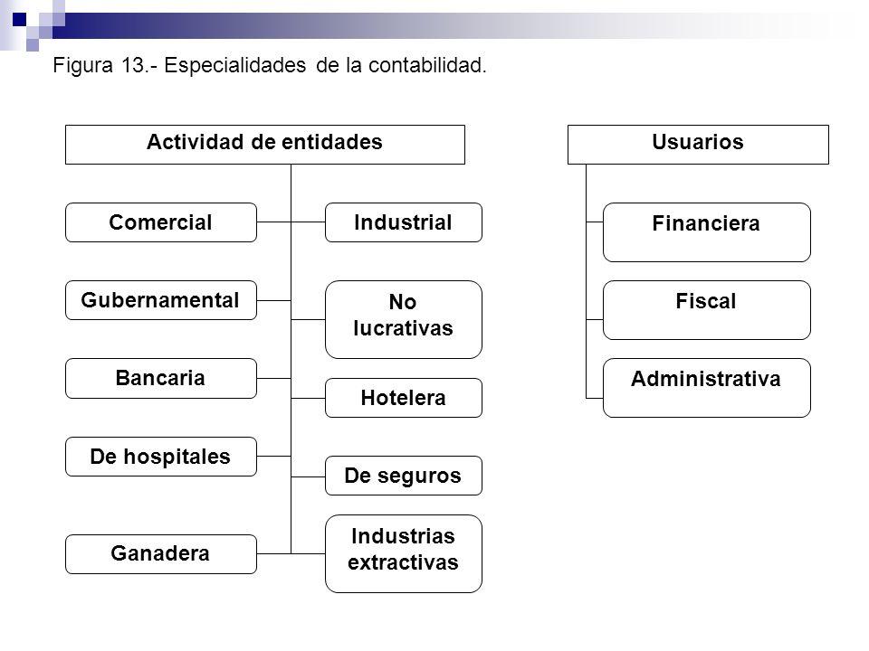 Figura 13.- Especialidades de la contabilidad. Actividad de entidadesUsuarios Comercial Gubernamental No lucrativas Administrativa Fiscal Financiera B