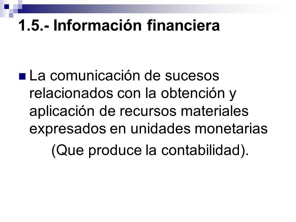 1.5.- Información financiera La comunicación de sucesos relacionados con la obtención y aplicación de recursos materiales expresados en unidades monet