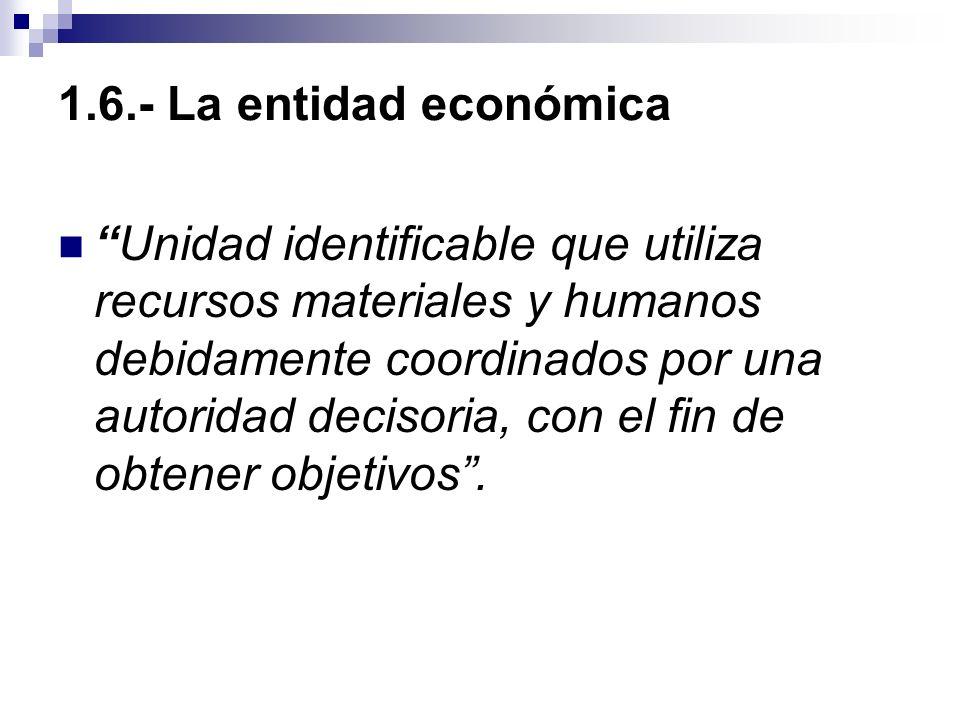 1.6.- La entidad económica Unidad identificable que utiliza recursos materiales y humanos debidamente coordinados por una autoridad decisoria, con el