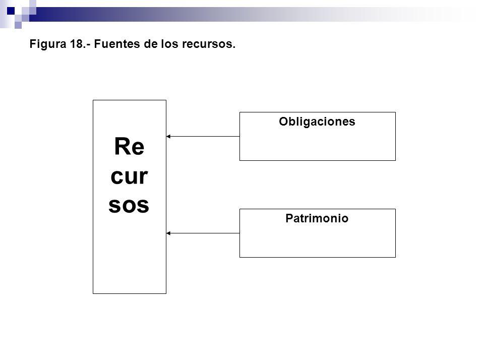 Figura 18.- Fuentes de los recursos. Re cur sos Obligaciones Patrimonio