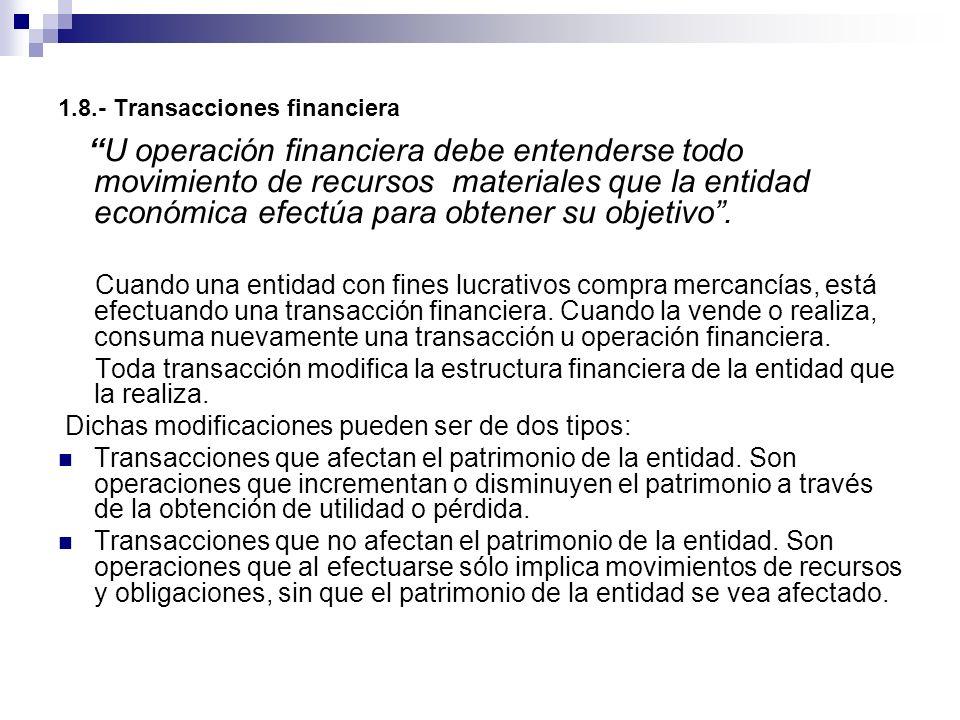 1.8.- Transacciones financiera U operación financiera debe entenderse todo movimiento de recursos materiales que la entidad económica efectúa para obt