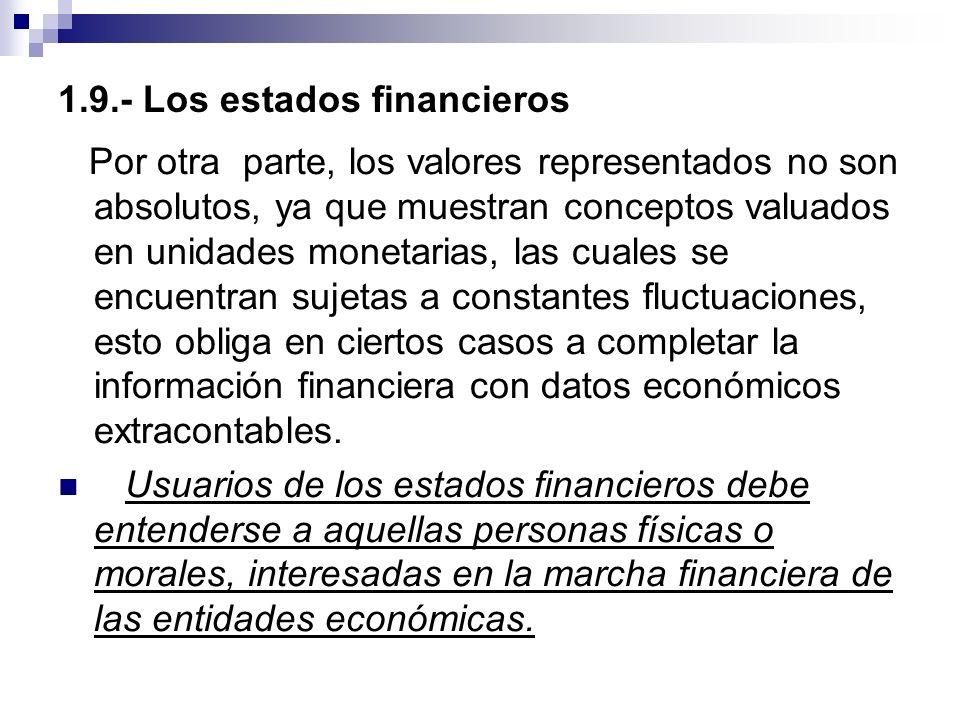 1.9.- Los estados financieros Por otra parte, los valores representados no son absolutos, ya que muestran conceptos valuados en unidades monetarias, l