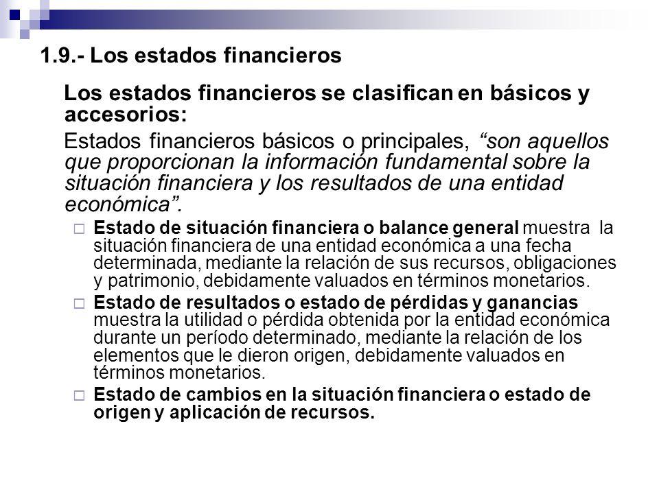 1.9.- Los estados financieros Los estados financieros se clasifican en básicos y accesorios: Estados financieros básicos o principales, son aquellos q