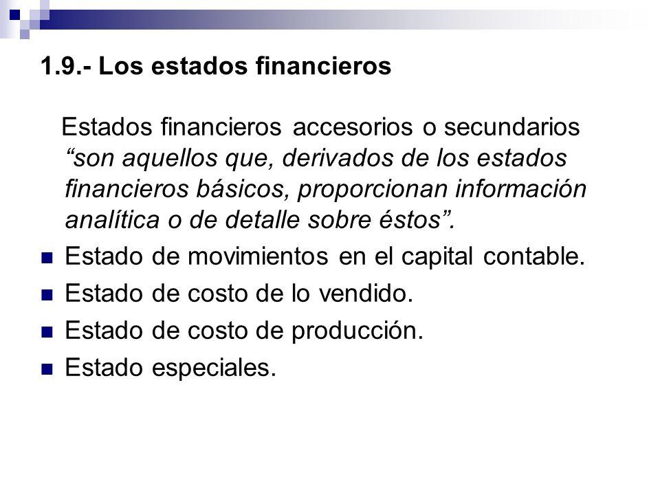1.9.- Los estados financieros Estados financieros accesorios o secundarios son aquellos que, derivados de los estados financieros básicos, proporciona