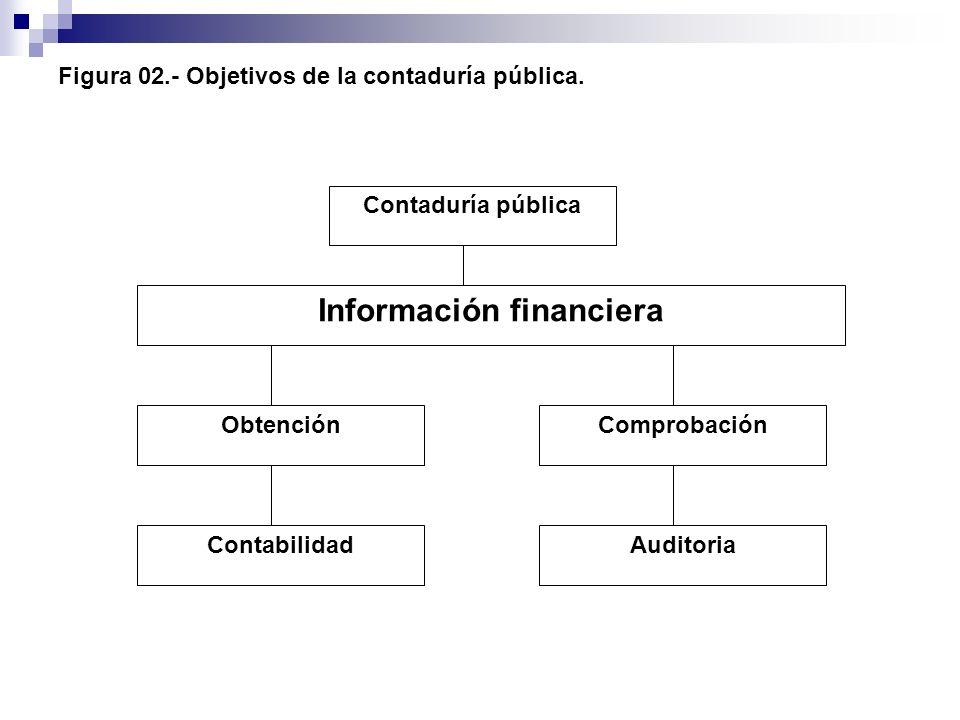 Figura 02.- Objetivos de la contaduría pública. Contaduría pública Información financiera Comprobación Auditoria Obtención Contabilidad