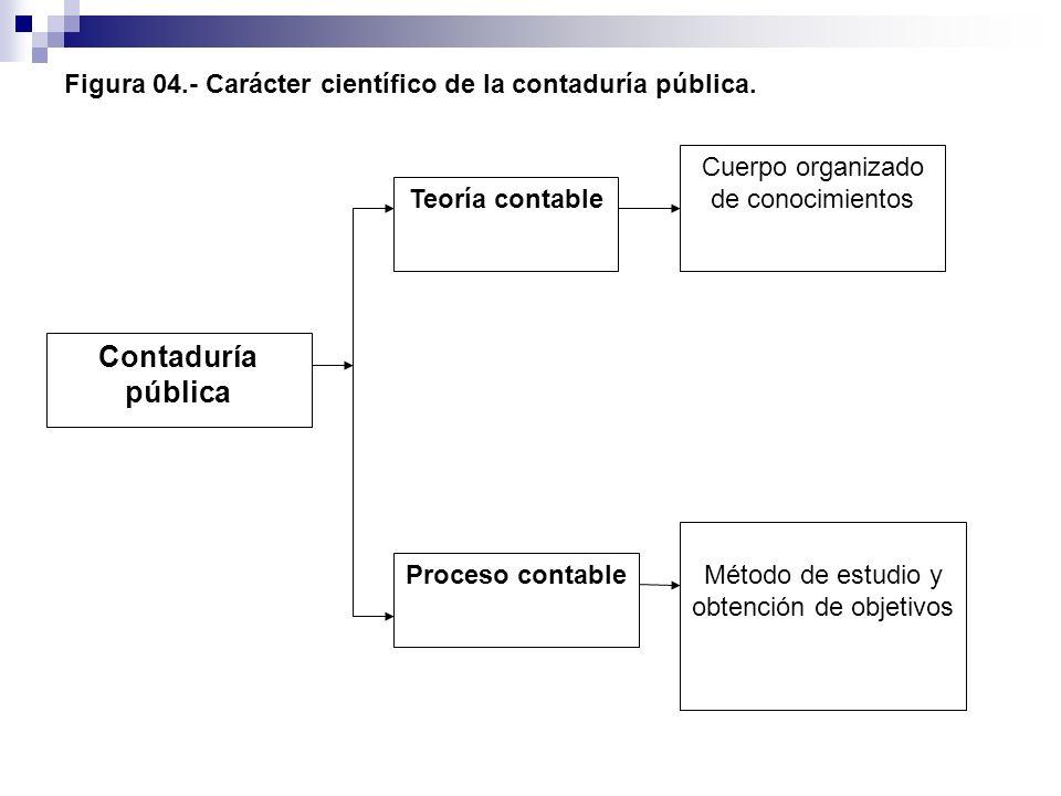 Figura 04.- Carácter científico de la contaduría pública. Contaduría pública Proceso contable Teoría contable Método de estudio y obtención de objetiv
