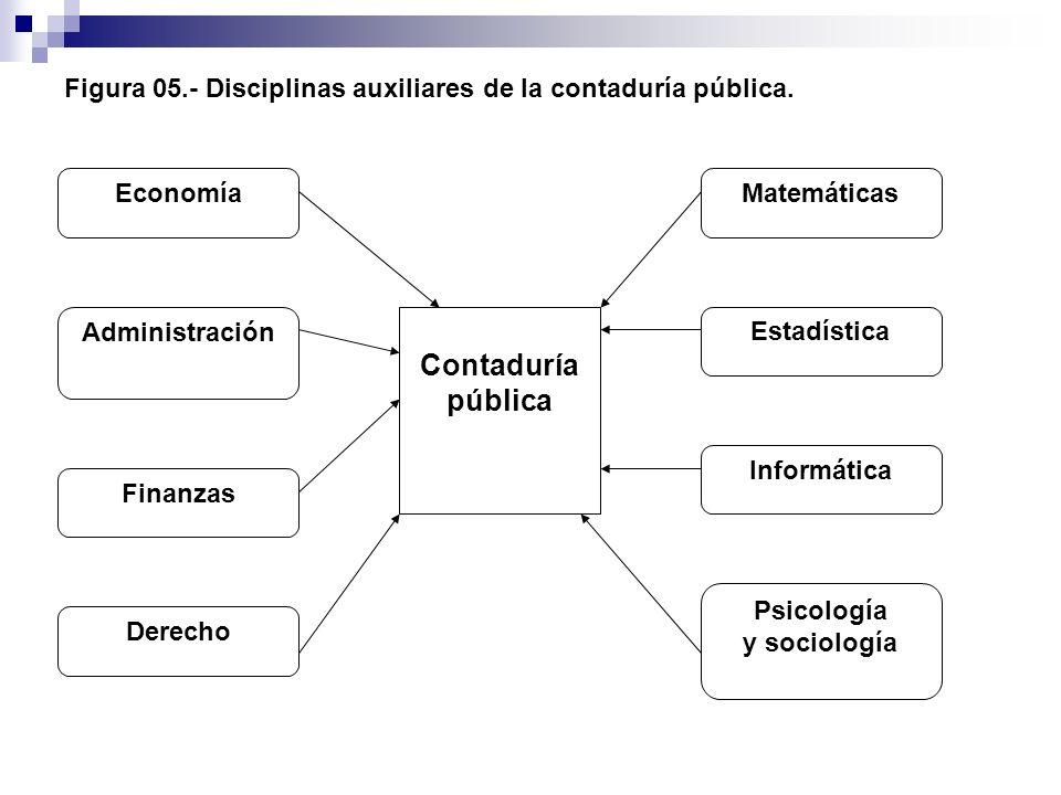 Figura 05.- Disciplinas auxiliares de la contaduría pública. Contaduría pública Economía Administración Finanzas Derecho Psicología y sociología Infor