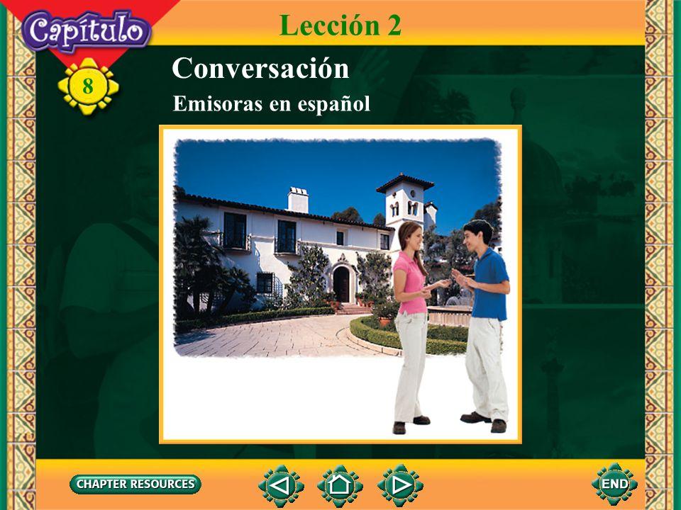 8 Completen. Lección 2 1. Guillermo apaga el televisor con el control ______. remoto 2. La meteoróloga dará el ______ del tiempo después de los anunci