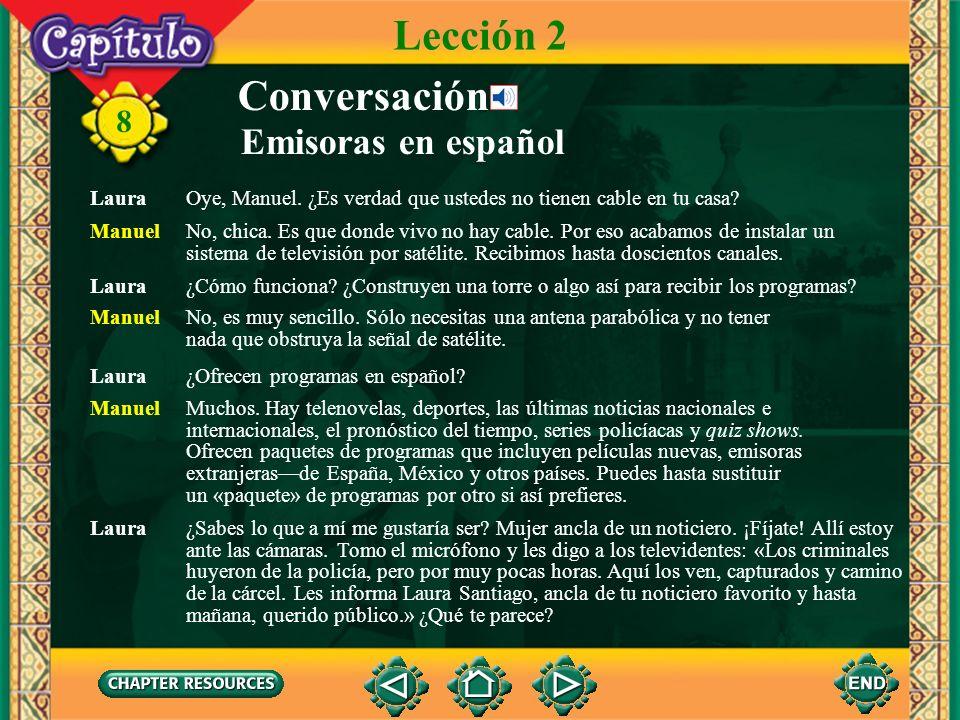 8 Lección 2 Conversación Emisoras en español