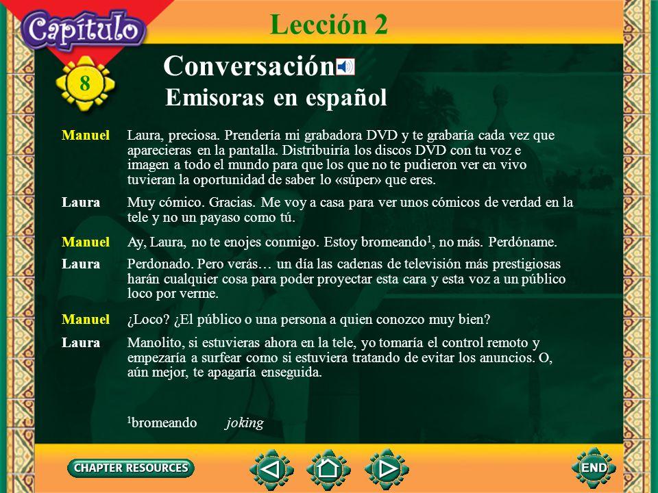 8 Conversación Emisoras en español Laura Oye, Manuel. ¿Es verdad que ustedes no tienen cable en tu casa? Manuel No, chica. Es que donde vivo no hay ca