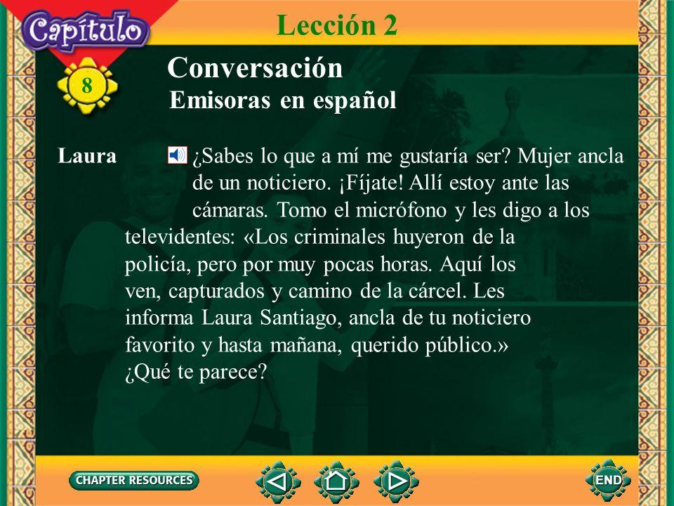 8 Laura ¿Ofrecen programas en español? Manuel Muchos. Hay telenovelas, deportes, las últimas noticias nacionales e internacionales, el pronóstico del