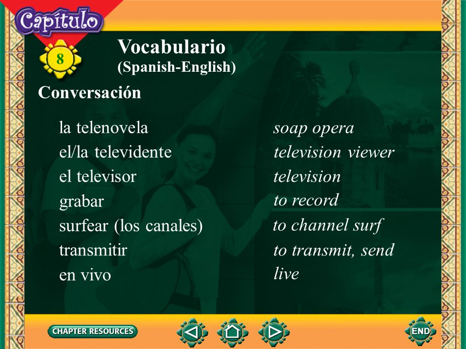 8 Vocabulario el/la meteorólogo(a)meteorologist el micrófonomicrophone las noticiasnews el noticiero news report la pantalla computer monitor el payas