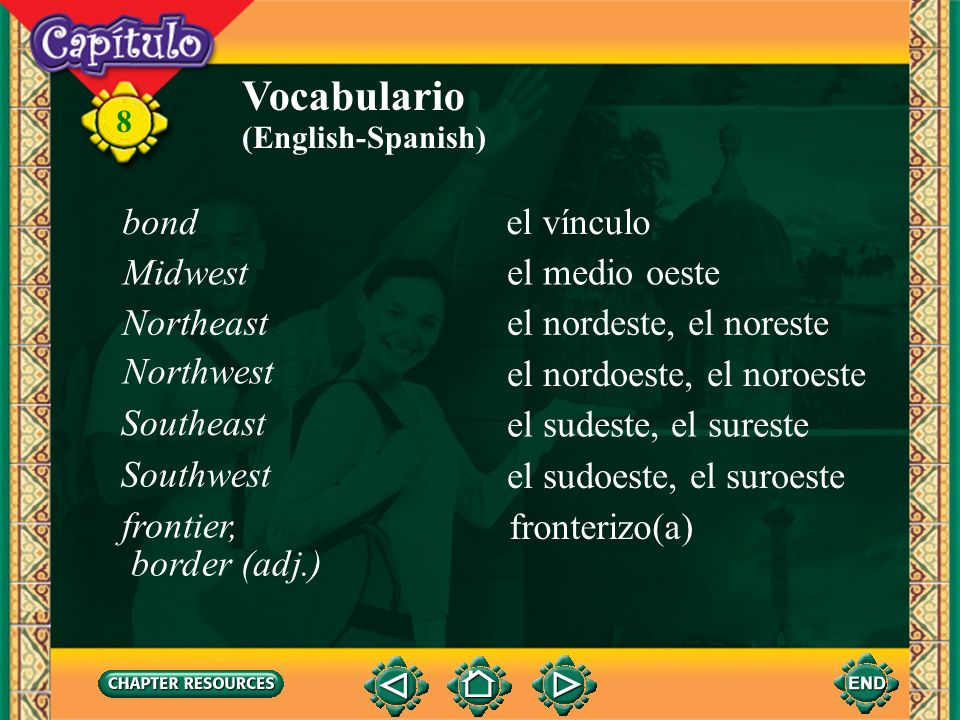 8 Vocabulario el ceseceasing, stopping (English-Spanish) la InquisiciónSpanish inquisition la mano de obraworkforce el/la norteño(a) Person from the n