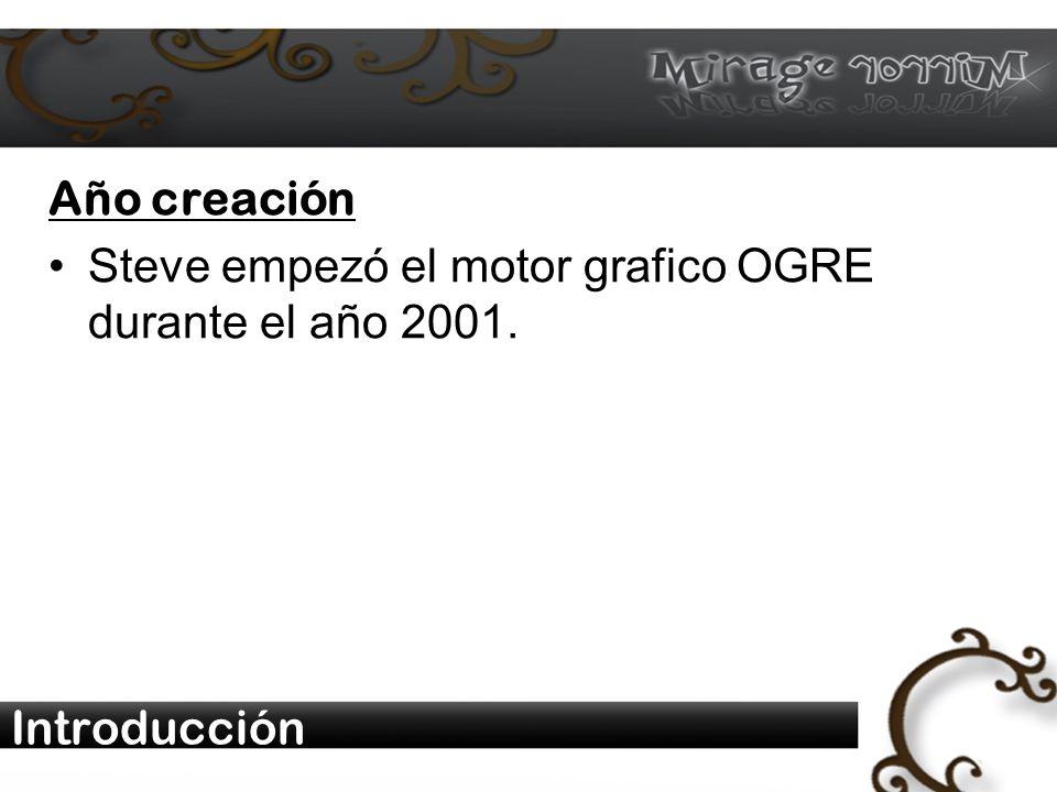 Introducción Año creación Steve empezó el motor grafico OGRE durante el año 2001.