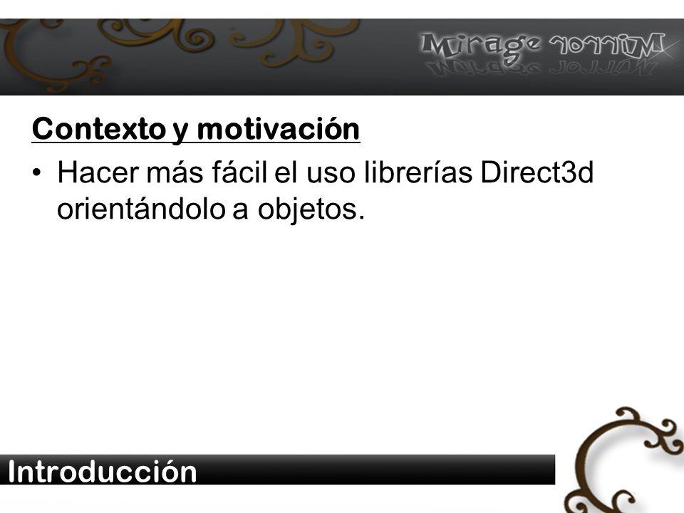 Introducción Contexto y motivación Hacer más fácil el uso librerías Direct3d orientándolo a objetos.