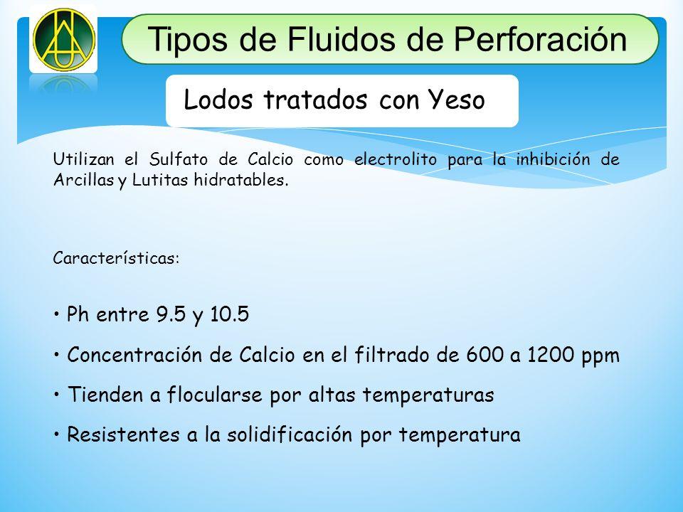 Lodos tratados con Yeso Utilizan el Sulfato de Calcio como electrolito para la inhibición de Arcillas y Lutitas hidratables. Características: Ph entre