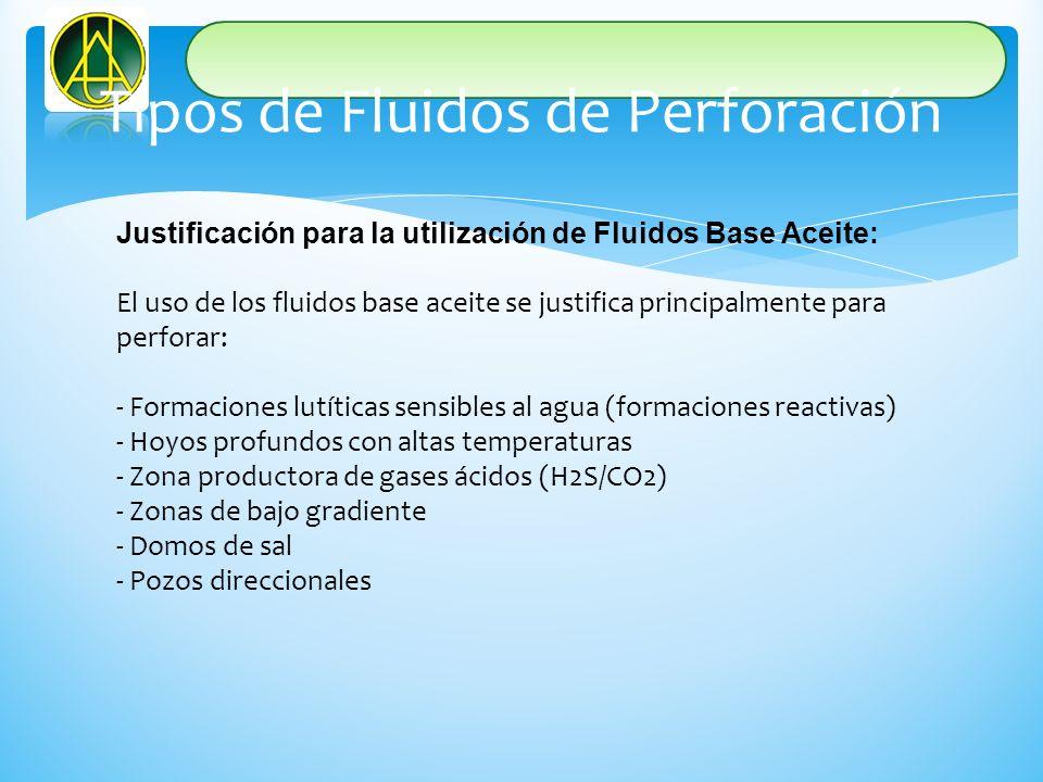 Justificación para la utilización de Fluidos Base Aceite: El uso de los fluidos base aceite se justifica principalmente para perforar: - Formaciones l