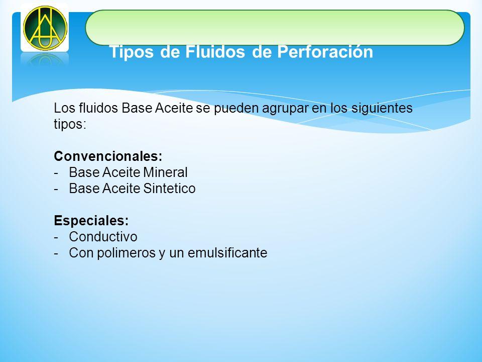 Tipos de Fluidos de Perforación Los fluidos Base Aceite se pueden agrupar en los siguientes tipos: Convencionales: -Base Aceite Mineral -Base Aceite S