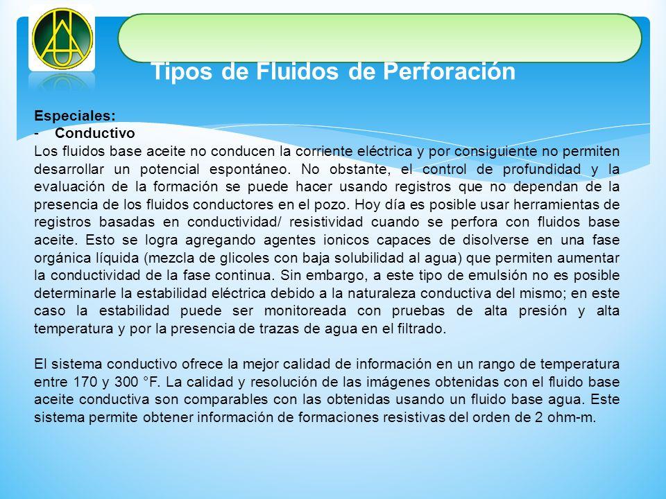 Tipos de Fluidos de Perforación Especiales: -Conductivo Los fluidos base aceite no conducen la corriente eléctrica y por consiguiente no permiten desa