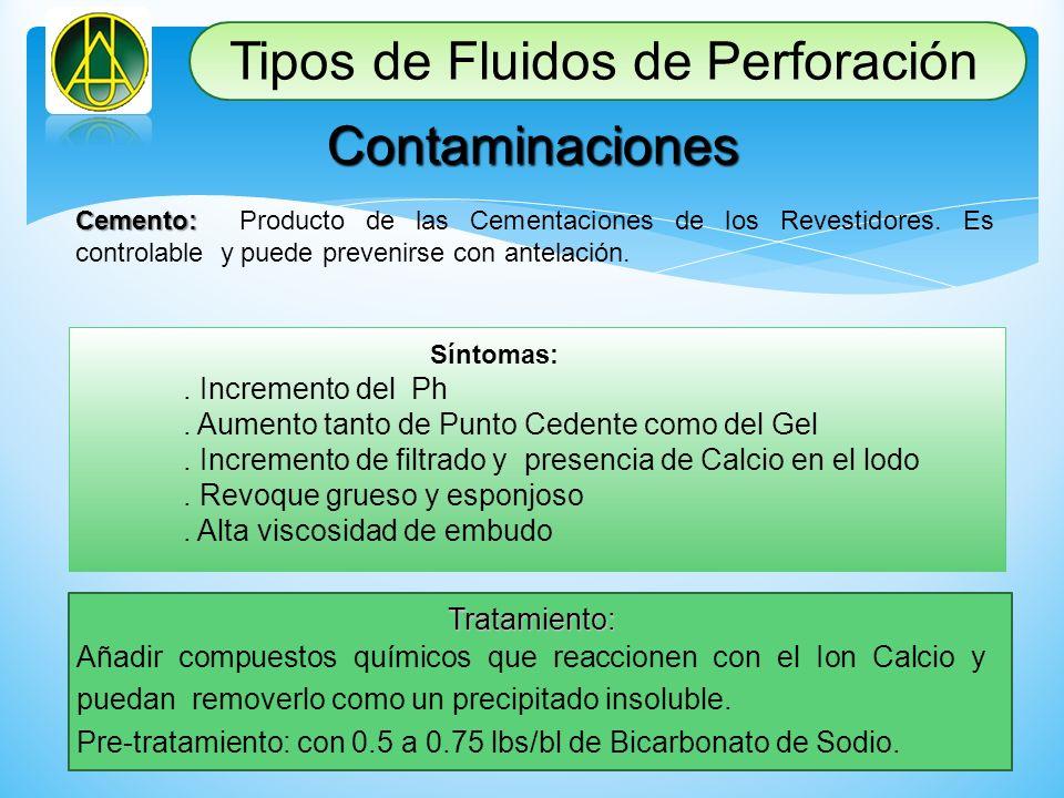 Contaminaciones Cemento: Cemento: Producto de las Cementaciones de los Revestidores. Es controlable y puede prevenirse con antelación. Síntomas:. Incr