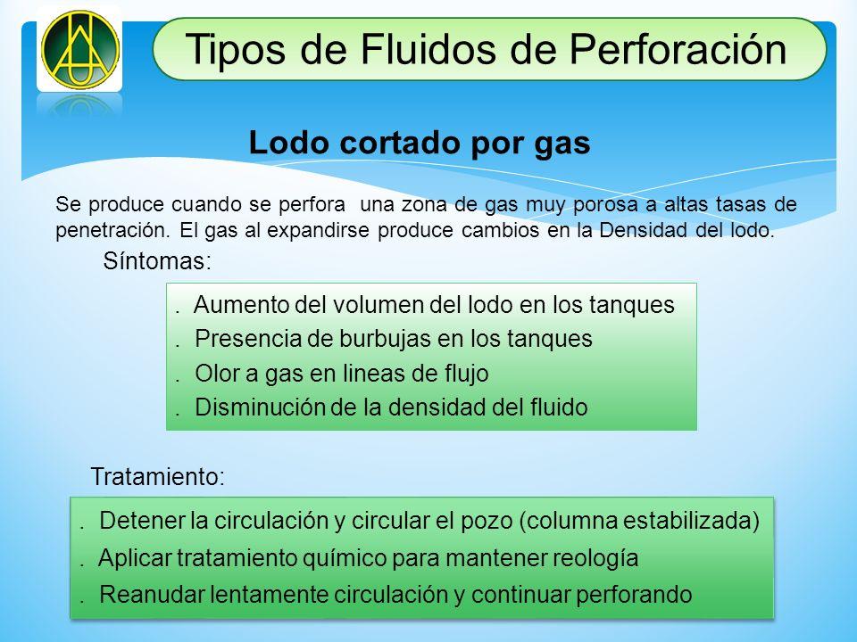 Lodo cortado por gas Se produce cuando se perfora una zona de gas muy porosa a altas tasas de penetración. El gas al expandirse produce cambios en la