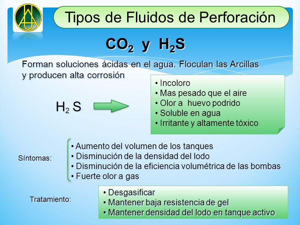 CO 2 y H 2 S Forman soluciones ácidas en el agua. Floculan las Arcillas y producen alta corrosión Forman soluciones ácidas en el agua. Floculan las Ar