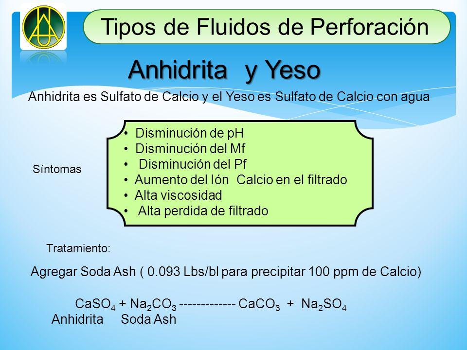 Anhidrita y Yeso Anhidrita es Sulfato de Calcio y el Yeso es Sulfato de Calcio con agua Síntomas Disminución de pH Disminución del Mf Disminución del