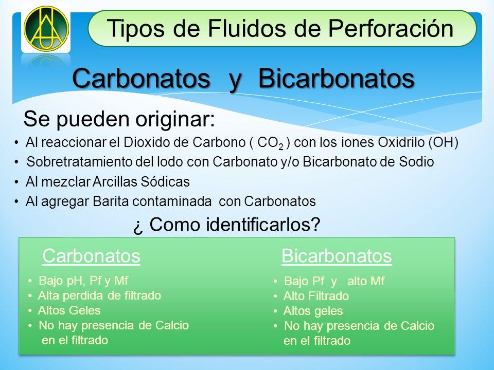Carbonatos y Bicarbonatos Se pueden originar: Al reaccionar el Dioxido de Carbono ( CO 2 ) con los iones Oxidrilo (OH) Sobretratamiento del lodo con C