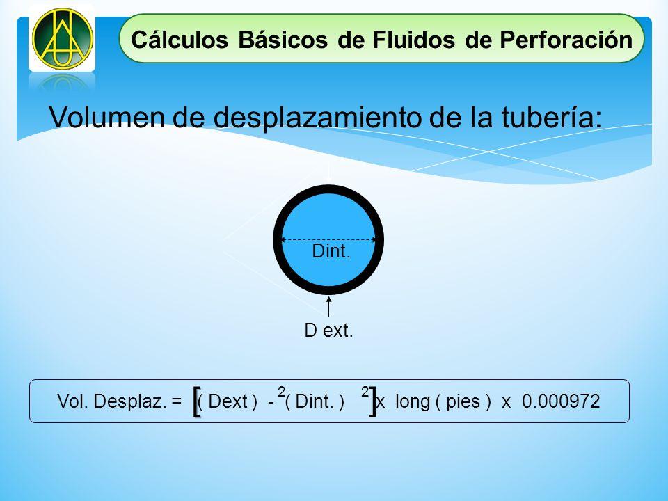 Dint. D ext. Vol. Desplaz. = ( Dext ) - ( Dint. ) x long ( pies ) x 0.000972 22 ] Volumen de desplazamiento de la tubería: Cálculos Básicos de Fluidos