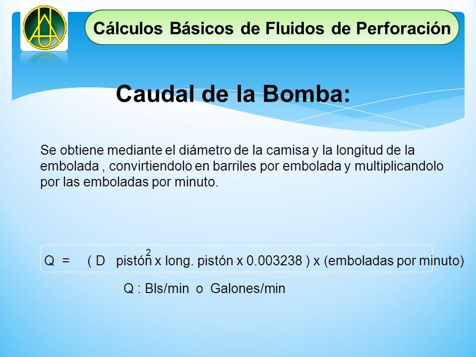 Caudal de la Bomba: Se obtiene mediante el diámetro de la camisa y la longitud de la embolada, convirtiendolo en barriles por embolada y multiplicando
